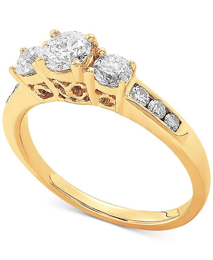 Macy's - Diamond Three Stone Engagement Ring (1 ct. t.w.) in 14k Gold