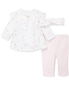Baby Girls 3-Pc. Cotton Headband, Floral-Print Top & Pants Set