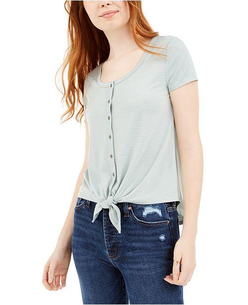 Hippie Rose Juniors' Tie-Front Pointelle T-Shirt