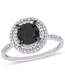 Black and White Diamond (1 5/8 ct. t.w.) Double Halo Engagement Ring in 14k White Gold
