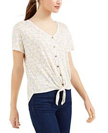Juniors' Tie-Front Floral Top