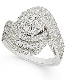 Diamond Cluster Swirl Statement Ring (2 ct. t.w.) in 14k White Gold
