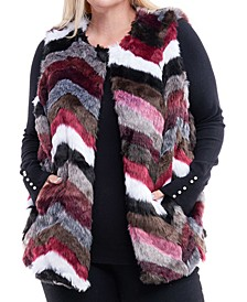 Plus Size Multcolored Faux-Fur Vest