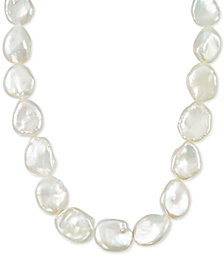 """Cultured Baroque White Freshwater Pearl (11-15mm) 36"""" Strand Necklace"""