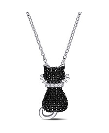 Black Spinel (2 1/3 ct. t.w.) and Created White Sapphire Accent (0.06 ct. t.w.) Kitty Cat Necklace in Sterling Silver