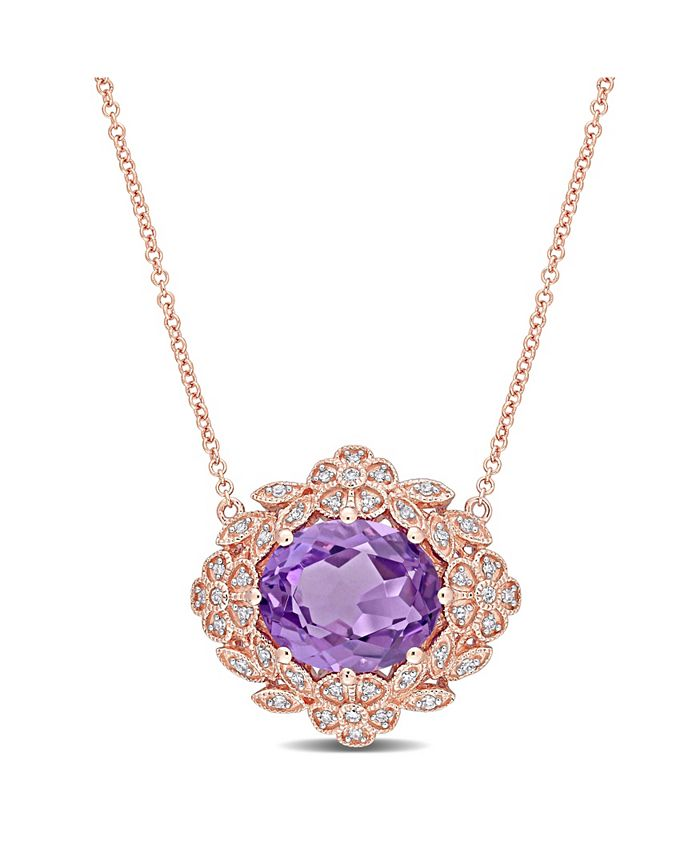 Macy's - Amethyst (4 ct. t.w.) and Diamond (1/5 ct. t.w.) Floral Vintage Necklace in 14k Rose Gold
