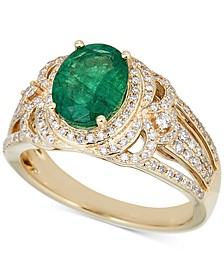 Emerald (2 ct. t.w.) & Diamond (1/2 ct .t.w.) Ring in 14k White Gold (Also in Sapphire)