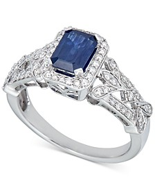 Sapphire (1-1/4 ct. t.w.) & Diamond (1/3 ct. t.w.) Ring in 14k White Gold (Also in Tanzanite & Emerald)