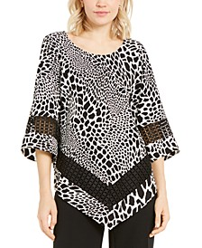 Petite Printed Crochet-Trim Top, Created for Macy's