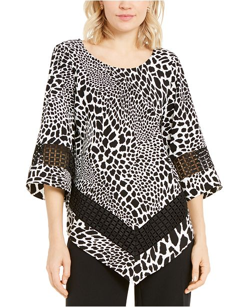 Alfani Petite Printed Crochet-Trim Top, Created for Macy's