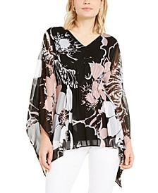 Petite Floral-Print Ruched Top, Created for Macy's