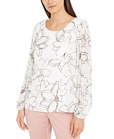 Petite Floral-Print Pleat-Sleeve Top, Created for Macy's