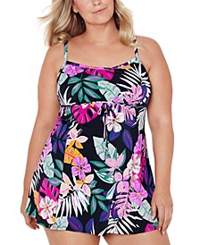 Plus Size Floral-Print Empire Swimdress, Created for Macy's