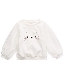 Baby Girls Cotton Animal Face Sweatshirt, Created for Macy's