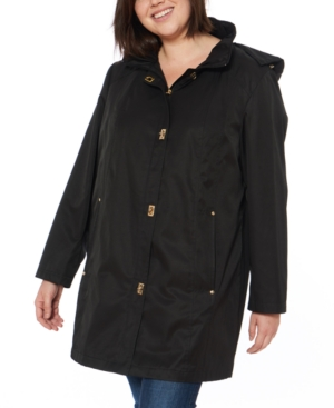 Plus Size Water-Resistant Hooded Raincoat