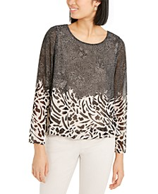 Petite Mixed-Print Bubble Top, Created for Macy's