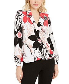 Petite Printed Piped Surplice Top, Created for Macy's