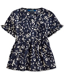 Little Girls Floral Cotton Dobby Top