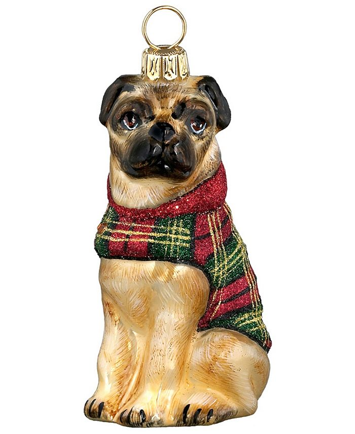 Joy to the World - Pug in Tartan Plaid Coat