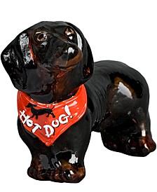 "Dachshund Black with Red Bandana ""Hot Dog"""