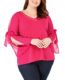 Plus Size Embellished Chiffon-Sleeve Top