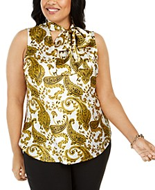 Plus Size Paisley-Print Tie-Neck Top