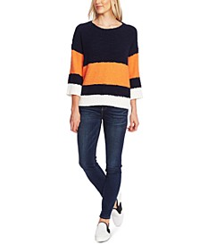 Striped Elbow-Sleeve Teddy Bear Sweater