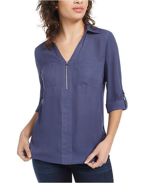 BCX Juniors' Woven Zipper Roll-Tab Shirt