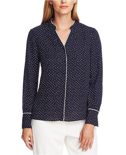 Vince Camuto Printed Contrast-Trim Blouse