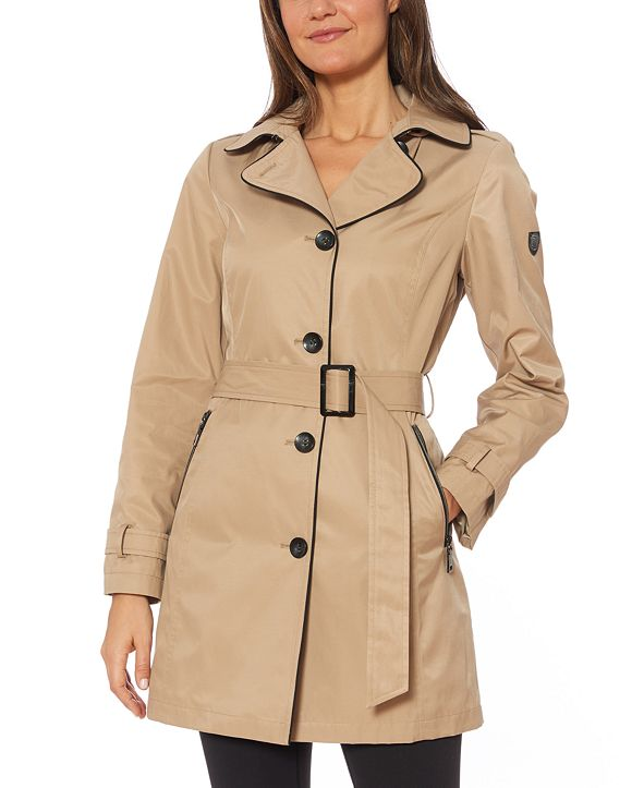 Vince Camuto Hooded Belted Raincoat