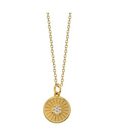 "Cubic Zirconia Circle Pendant Gold Plated Necklace, 16""+ 2"" Extender"