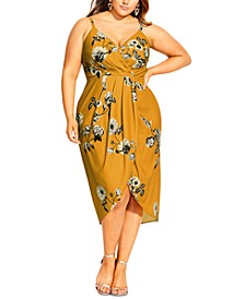 Trendy Plus Size Golden Vine Faux-Wrap Dress