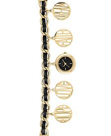 Ladies Gold-Tone Mixed Metal and Black Genune Leather Charm Bracelet