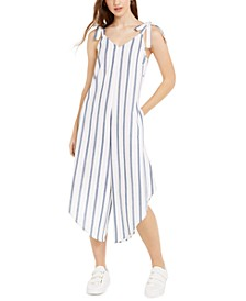 Juniors' Striped Asymmetrical-Hem Cropped Jumpsuit