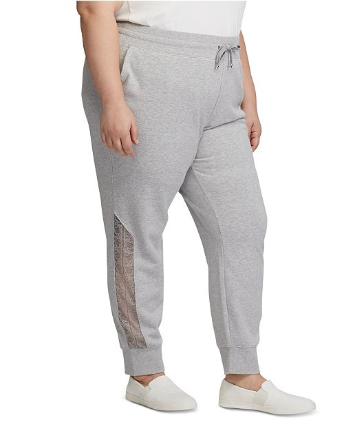 Lauren Ralph Lauren Plus Size Lace-Trim Terry  Jogger Pants