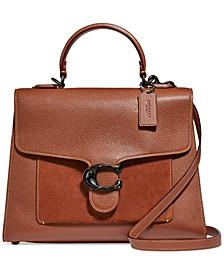 Mixed Leather Suede Pocket Tabby Top Handle Satchel