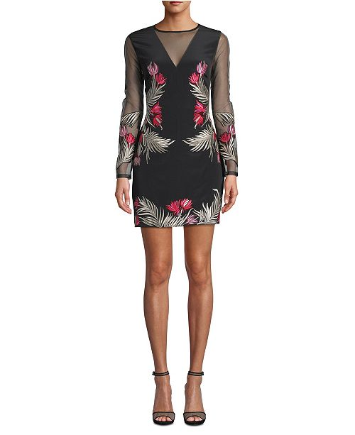 Nicole Miller Flower Fire Embroidered Illusion Dress