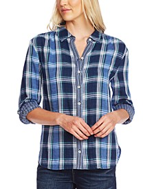 Cotton Plaid Tabbed Shirt