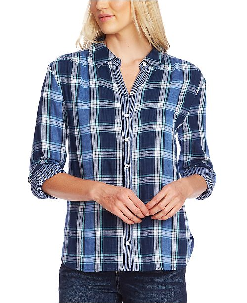 Vince Camuto Cotton Plaid Tabbed Shirt
