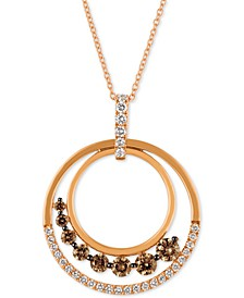 """Chocolatier® 18"""" Pendant Necklace (7/8 ct. t.w.) in 14k Strawberry Gold"""