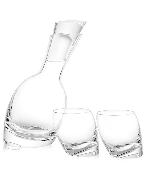 Nambe Nambe Tilt Decanter and Set of 2 Double Old Fashioned Glasses
