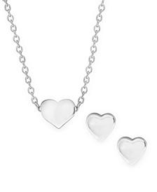 Children's  Heart Pendant Necklace Stud Earrings Set in Sterling Silver