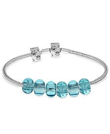Children's Premade Charm Bracelet with Stopper in Sterling Silver. Available in Pink, Blue and Red