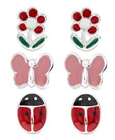Children's  Butterfly, Ladybug, Flower Stud Earrings - Set of 3 in Sterling Silver