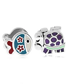 Children's  Enamel Fish Turtle Bead Charms - Set of 2 in Sterling Silver
