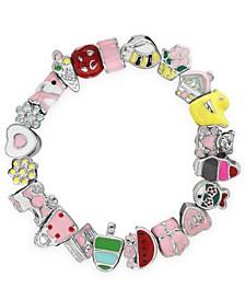 Children's  Enamel Bead Charm Stretch Bracelet in Sterling Silver