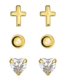 Children's Stud Earrings Set of 3 in 10K Yellow Gold Over Sterling Silver