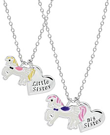 Children's  Unicorn Sisters Necklace Two Piece Set in Sterling Silver