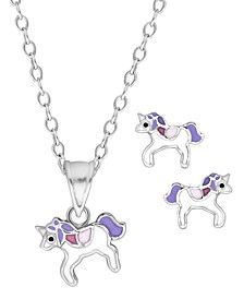 Children's  Purple Unicorn Pendant  Stud Earrings Set in Sterling Silver