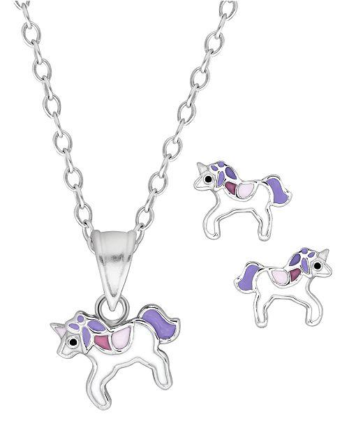 Rhona Sutton Children's  Purple Unicorn Pendant  Stud Earrings Set in Sterling Silver